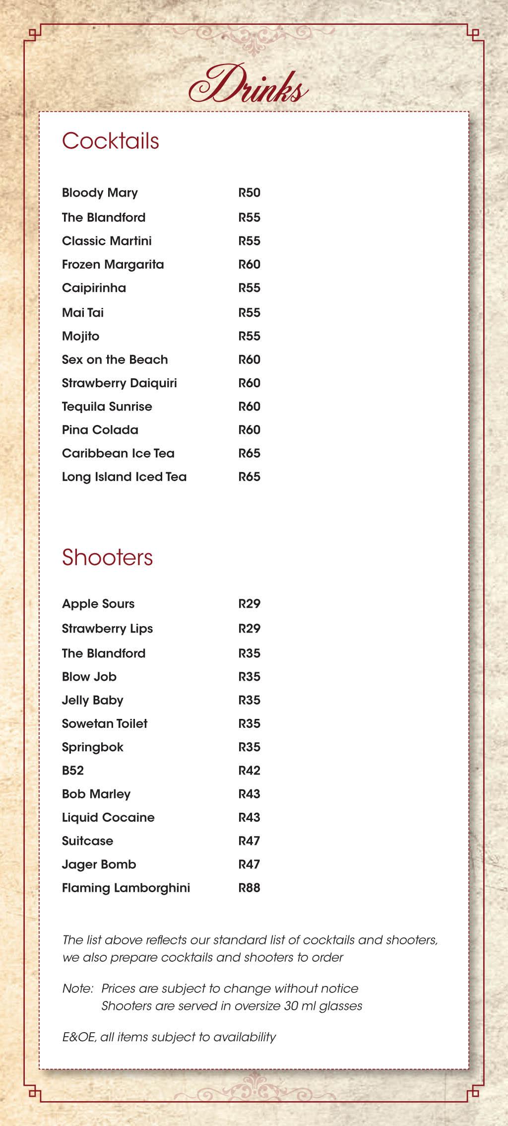 Blandford menu 2018-10
